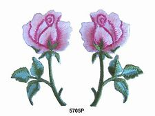 #5705P Lot 2Pcs /Pair  Pink Rose Flower Embroidery Iron On Appliqué Patch