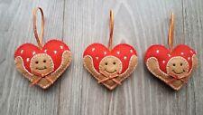 Handmade christmas tree decorations gingerbread hearts×3 new