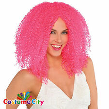 Adults Womens Pink Crimped Clown Wig Halloween Fancy Dress Costume Accessory