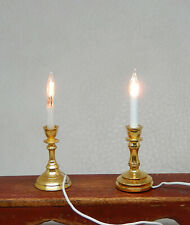2 Vintage Brass Electric Candle Lights Dollhouse Miniature 1:12