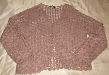 West End Women's Petite Size M PM Brown Open Knit Brown Cardigan Beaded EUC