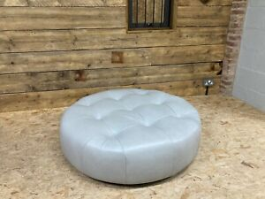 Alexander James Bobby round twister footstool ottoman Tote silver grey leather