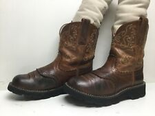 VTG WOMENS ARIAT 4LR COWBOY BROWN BOOTS SIZE 7.5 B