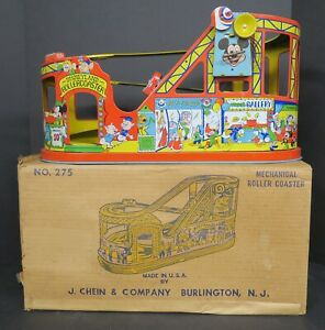 CHEIN No. 275 DISNEYLAND MECHANICAL TIN LITHO WIND-UP ROLLER COASTER IN ORIG BOX
