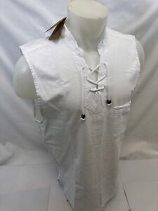 Mens LACE UP POCKET SLEEVELESS BLANCO By ENVY WHITE SHIRT BEACH TOP 100% Cotton