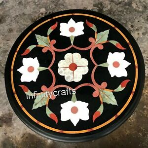 14 Inch Marble Coffee Table Top Multi Color Stones Inlaid Corner Table for Home