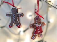 Gisela Graham Christmas Resin Gingerbread Boy & Girl Xmas Tree Decorations 9cm