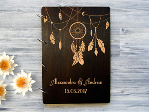Wedding Guest Book Dreamcatcher Personalized Wedding Guestbook Custom Guest Book