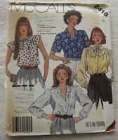 Blouse Sewing Pattern*McCalls 248*Size 14*UNCUT/FF*shirt*button*tie collar*bow