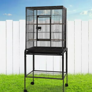 Pet Bird Budgie Parrot Cage Aviary Stand-alone Castor Wheels Feeders Large 144cm