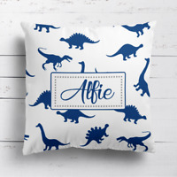 Personalised Dinosaur Boys Kids Childrens Cushion Cover Pillow Case Filling Navy