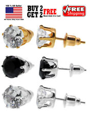 Surgical 316L Stainless Steel Stud Earrings Cubic Zircon Round Gold Silver Black