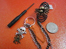Two Finger Spider & Spider Web Stretch Ring With Skull & Spider Ring Size 8