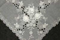 "Elegantlinen Handmade Flower Lace Embroidered Organza Tablecloth 72x126"" Napkins"
