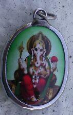 Hindu Deity Pendant GREEN GANESH Metal and Enamel