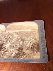 Vintage Lucerne & Lake Switzerland 1903 Underwood Stereoview Photo Card