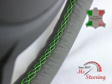 FOR IKCO ARISUN - GREY STEERING WHEEL COVER GREEN STITCH