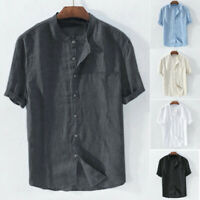 Men's Solid Color Cotton Short Sleeve Stand Collar Casual Shirt Retro T-Shirt