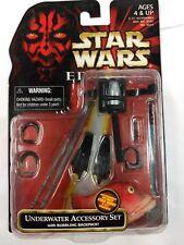 """Star Wars Episode 1 Underwater Accessory Set 3.75"""" Figure Gungan Jedi Hilt Fish"""