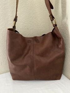 Lucky Brand Brown Pebbled Leather Tote Hobo Boho Handbag w/ Pouch