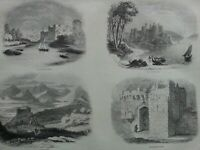 Antique Print Dated C1860's Penbroke Conway Harlech Beaumaris Castle Engraving