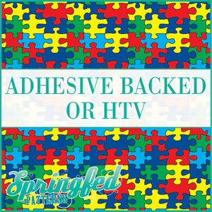 AUTISM PUZZLE Pattern Adhesive Vinyl or HTV Heat Transfer Vinyl Autistic Print