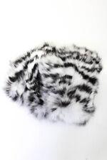 Jocelyn Womens Printed Full Rabbit Fur Fingerless Mittens Black White One Size
