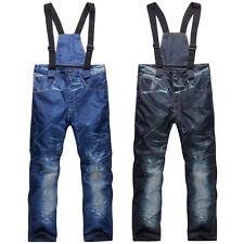Winter Men Denim Waterproof Ski Pants Full Protection Snowboard Windproof Pants