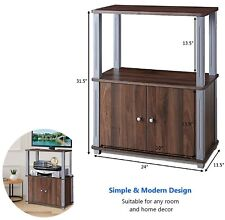 Small TV Stand Media Cabinet Entertainment Center Rack Unit Shelves 2 Doors TV