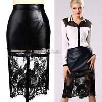 Women Leather Lace Floral High Waist Midi Pencil Skirt Black S M L XL 2X 3X DZ88