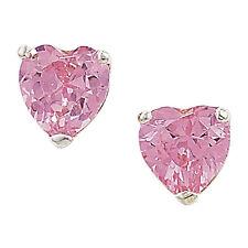 6mm breiter pink Cubic Zirkonia herzförmige Sterling Silber Ohrstecker