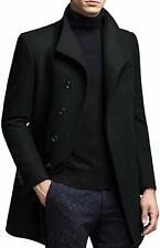 Men's Casual Thick Single Breasted Stand Collar Woolen Coat Long Trench Jacket M