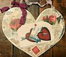 Vintage Style Valentine's Day Wooden Heart Decor Decoupaged Hangable-3435