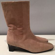 Authentic Cole Haan made in Italy beige suede boots chunky kitten heel 6.5 C