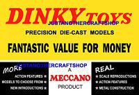 Dinky Toys 1960's Vintage A3 Tamaño Cartel Folleto Tienda Expositor Letreros