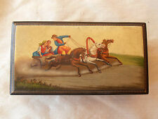 """Older Russian Laquer Box Fedoskino  Horses and Carriage 1961 hand Painted  6"""""""