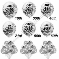 Silver Age Birthday Balloons 16th 18th 21st 30th 40th Birthday Decorations UK