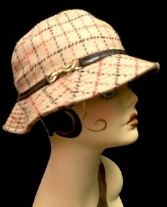 COACH Camel Red Brown Plaid Wool Leather Brass Woman's Bucket Hat Fedora S NEW!!