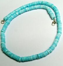 Peruvian blue opal heishi rondelle beads strand necklace 5-6mm 17inch 115carat