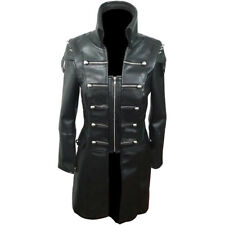Black WOMEN COW Leather Goth Matrix Trench Coat Steampunk Military Jacket