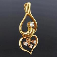 Double Arabesque Solid 9k YELLOW GOLD Pierced Diamond PENDANT