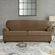 Sure Fit Suede Taupe Individual Cushion Loveseat Slipcover  style t or box