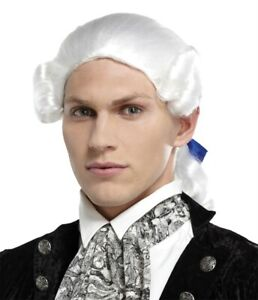 WHITE FOUNDING FATHERS COLONIAL PONYTAIL BOW WIG COSTUME MR178054