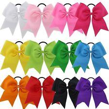"10 USA 10 JUMBO 8"" Cheer Bow Ponytail Holder Big Girls Large Hair Bows"