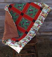Handmade Red Tractor Farm Baby Patchwork Quilt Cotton Blanket Unique NEW