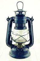 BLUE hurricane LED 7 1/2 in lamp emergency light lantern hanging antique rustic