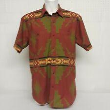 Orvis Mens LG Shirt Aztec Southwest Western Red Green Yellow Short Sleeve