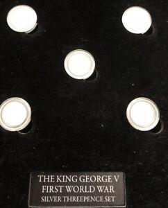 UK 🇬🇧5x Coins Proof Set George V WWI 1st World War 3p Pence W/ COA Cased B8.3