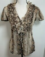 INC International Concepts Short Sleeve Button Up Knit Top Size S Reptile Ruffle