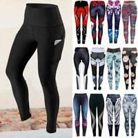 ❤Women High Waist Yoga Leggings Pocket Fitness Sports Gym Workout Athletic Pants